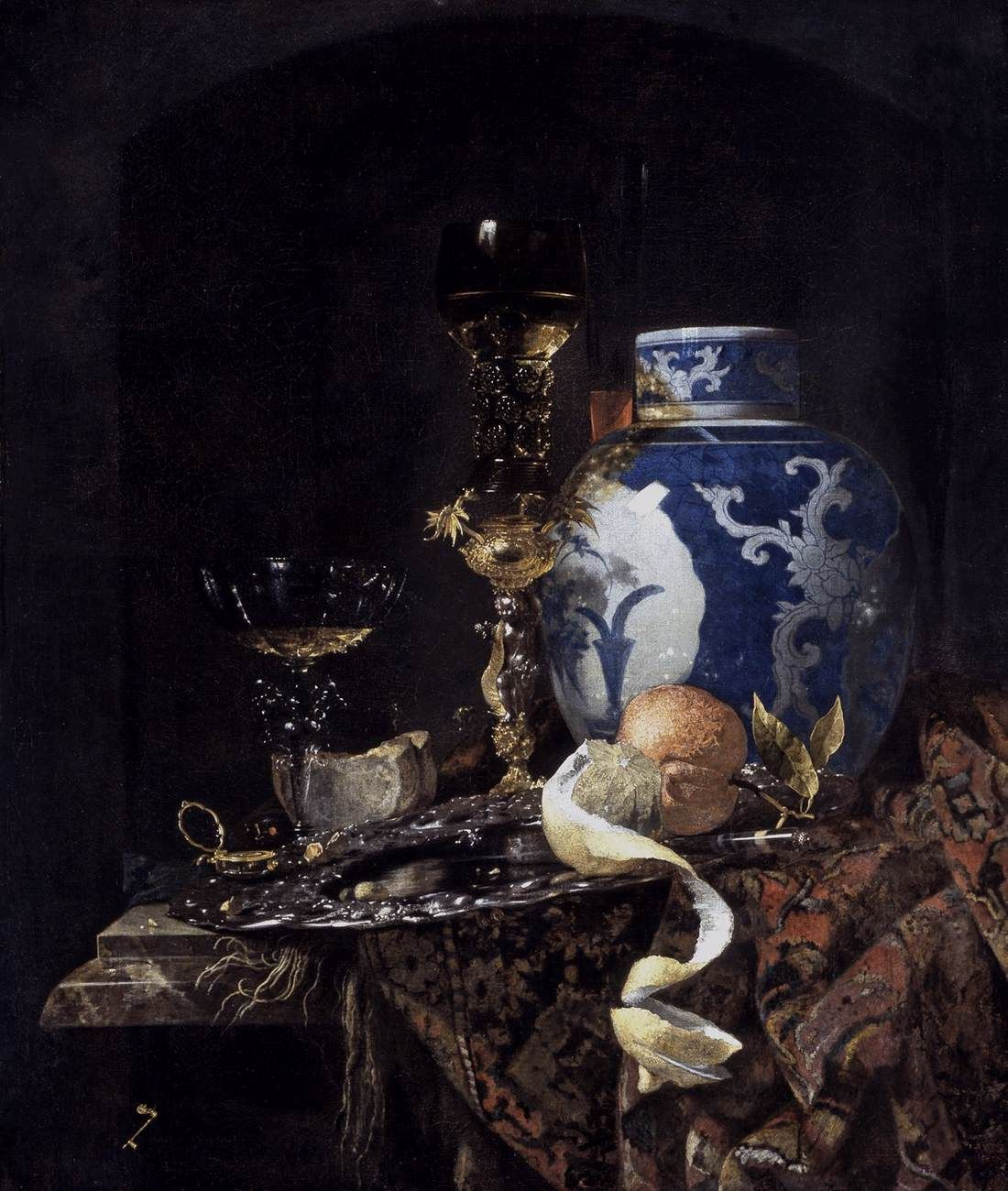 Willem Kalf, Still-Life with a Late Ming Ginger Jar  1669  Oil on canvas, 77 x 66 cm  Museum of Art, Indianapolis