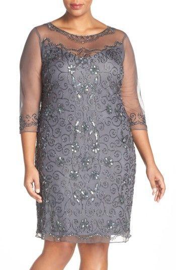 Pisarro Nights Plus Size Womens Illusion Neck Beaded Shift Dress