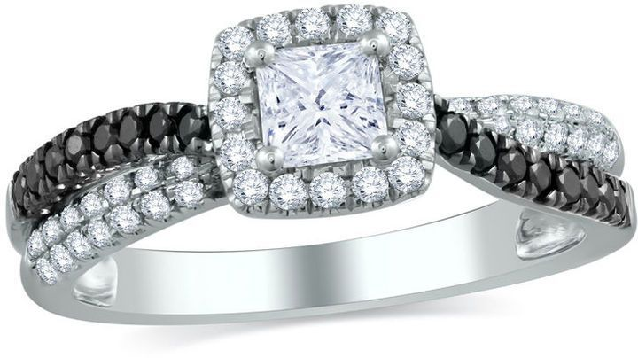 2b2c0ef33940a3 Zales 7/8 CT. T.W. Princess-Cut White and Enhanced Black Diamond Engagement  Ring in 10K White Gold