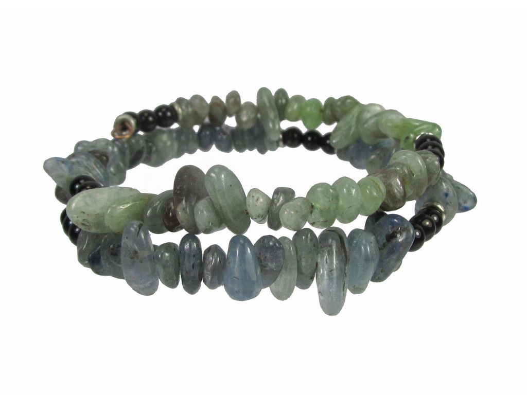 Kyanite Pebbles and Black Onyx Beads Memory Wire Bracelet #bcg140