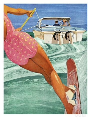 Vintage Water Ski Pic Water Ski Decor Lake Art Ski Decor