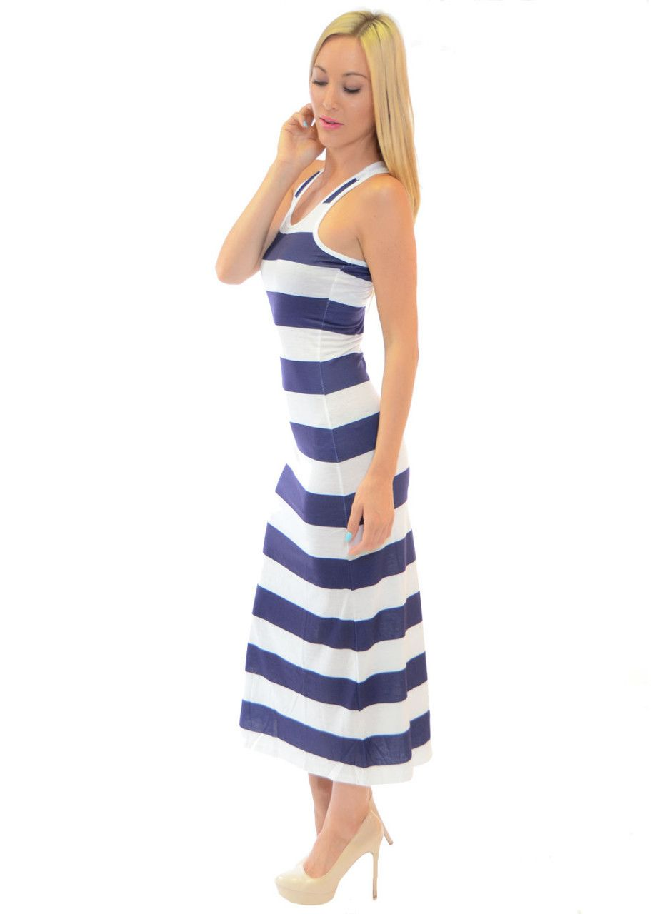 Blue & White Striped Maxi Dress from FIT2GO! | MAXI DRESSES & MAXI ...