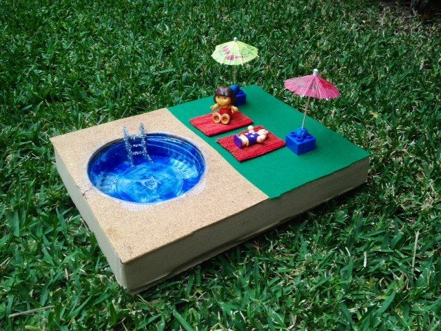 Swimming craft ideas dolls swimming pool how to make a for Diy swimming pool