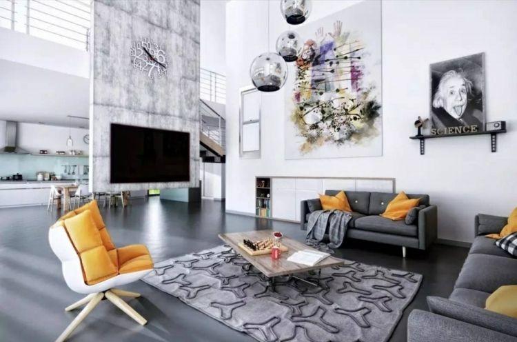Wohnzimmer Einrichten Modern Grau Möbel Laminat Gelbe Akzente
