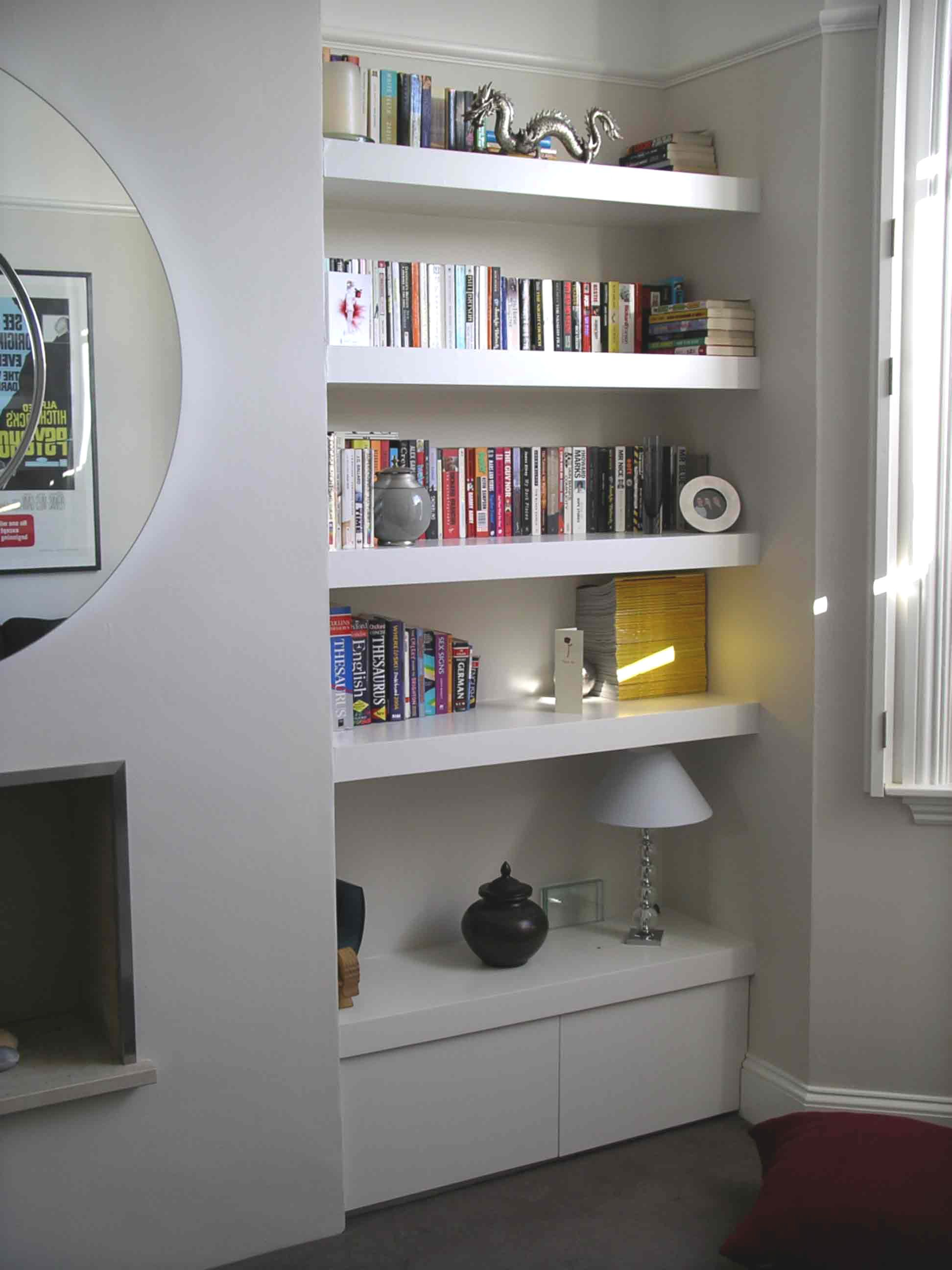 Floating Shelves On Hidden Fixings Alcove StorageAlcove ShelvingDining Room StorageLiving
