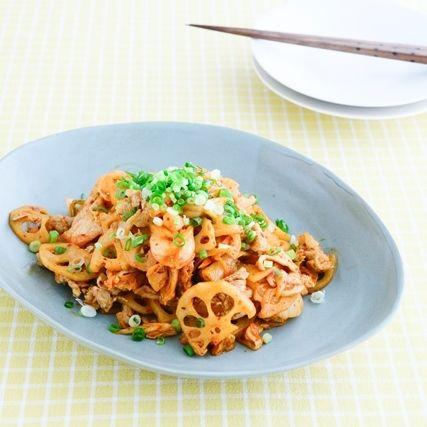 豚とレンコンのキムチ炒め レシピ 食べ物のアイデア キムチ 炒め