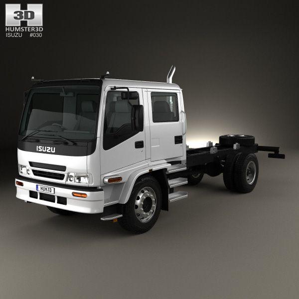 3d Model Of Isuzu Ftr 800 Crew Cab Chassis Truck 1997 Crew Cab Trucks Cab
