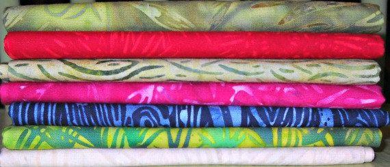 Batik Fabric Fat Quarter Bundle  Seven Fat by CurlicueCreations, $15.75
