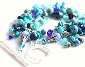 Items similar to Aqua Turquoise Teal , Summer, Cha Cha Charm Bracelet:  A Day in Barbados on Etsy. , via Etsy.