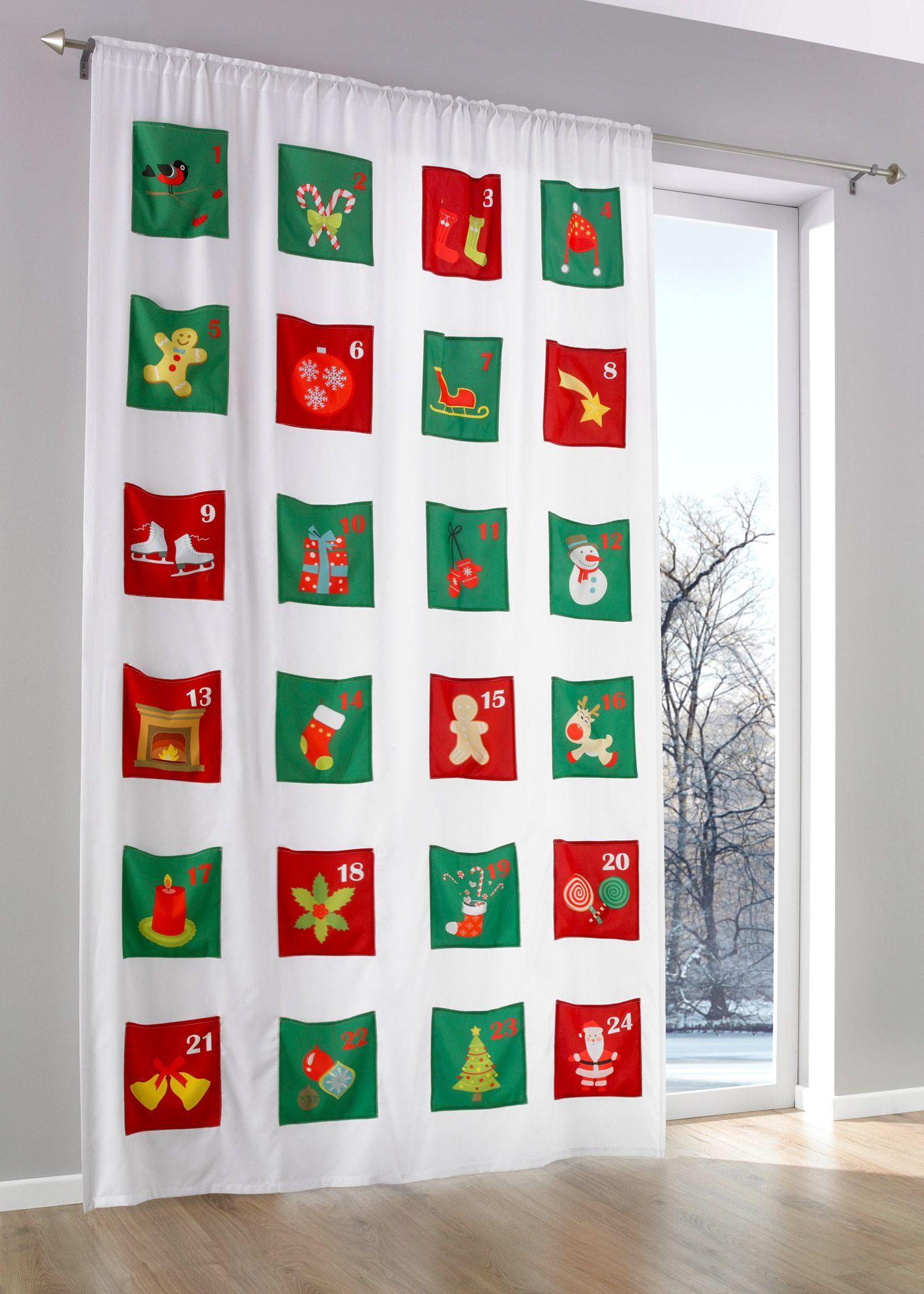 """Vorhang """"Adventskalender"""" (1er-Pack), Tunnelzug bunt - bpc living jetzt im Online Shop von bonprix.de ab ? 29,99 bestellen. Advent, Advent....so einen ..."""