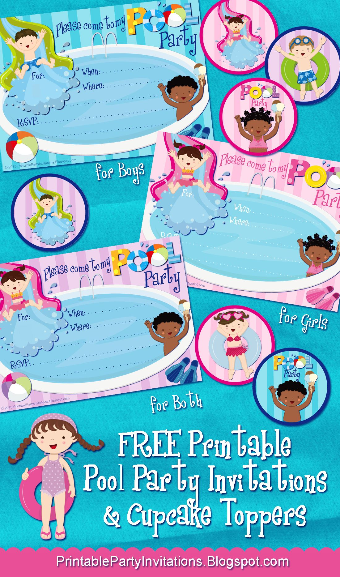 Three FREE Printable Pool Party Invitations, Plus Cupcake Toppers ...