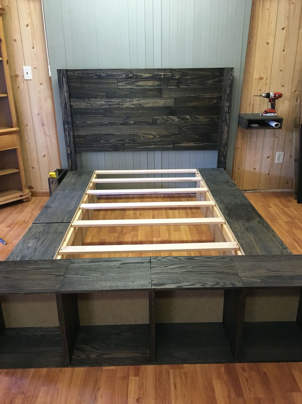 Our platform bed with pallet headboard Diy furniture