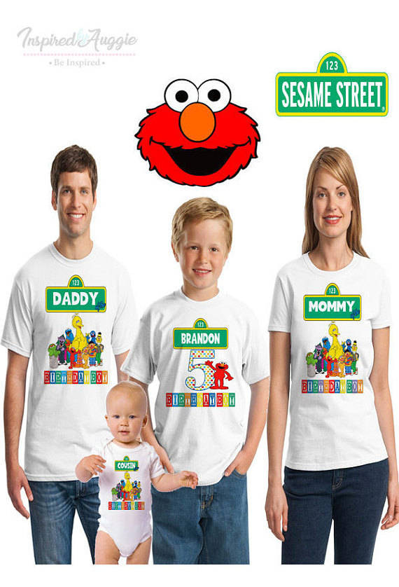 Personalized Sesame Street Themed Birthday T Shirt
