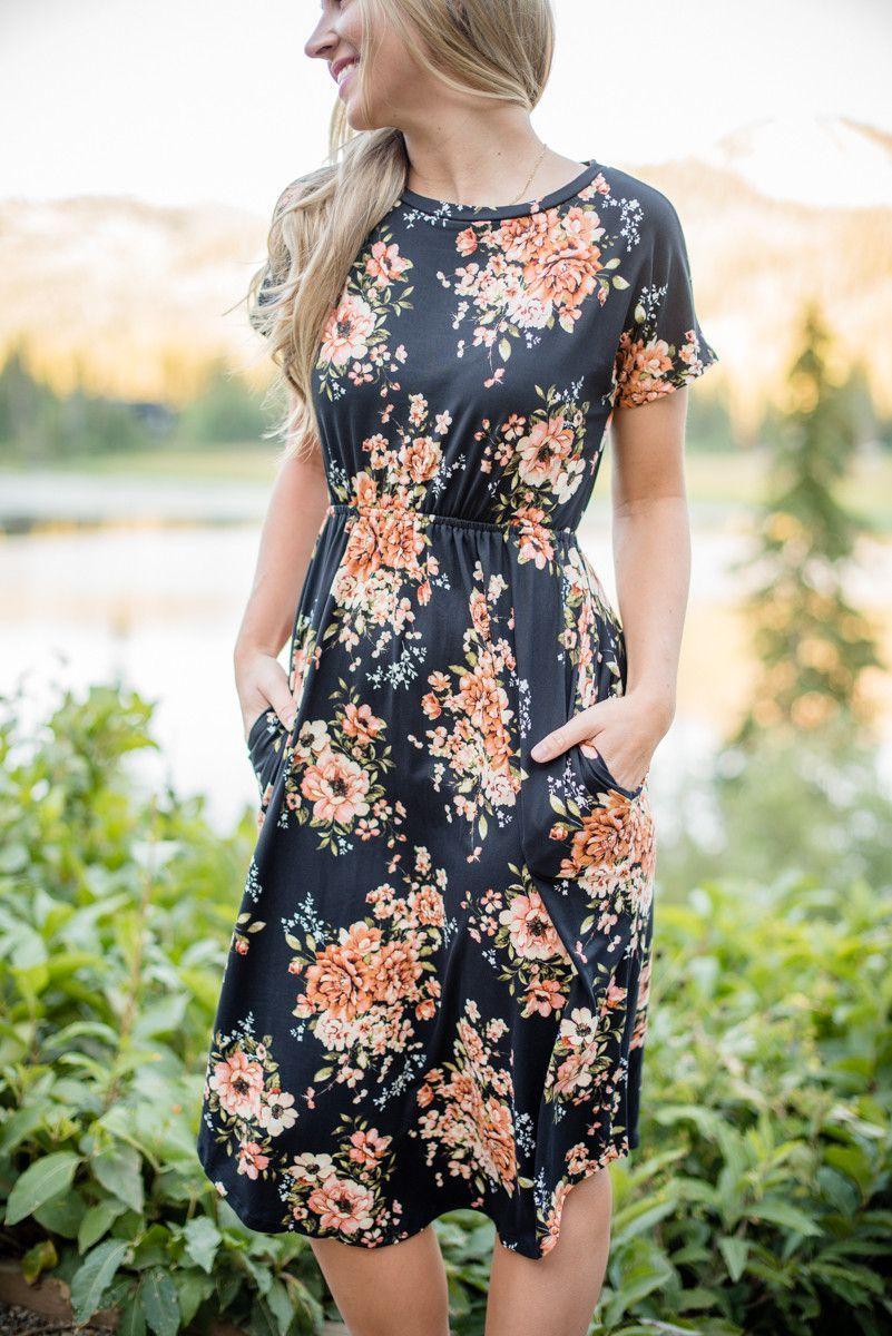 Garden Soiree Midi Black Modest Dresses Beauty Dress Dresses