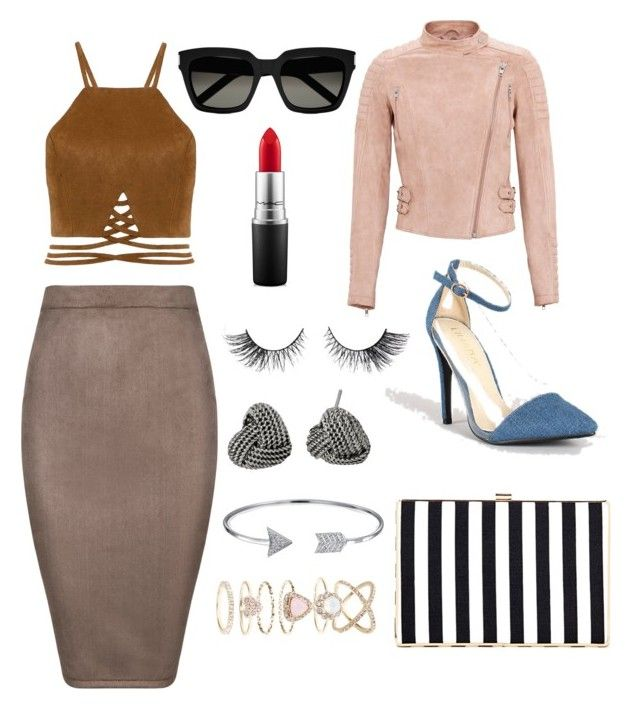 """""""Linda"""" by nimotalai on Polyvore featuring Ziva, MAC Cosmetics, Yves Saint Laurent, Betsey Johnson, Bling Jewelry and Accessorize"""