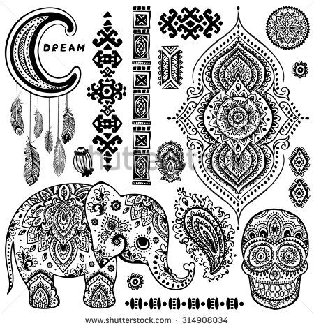 Set of ornamental Indian elements and symbols - stock vector   henna ...