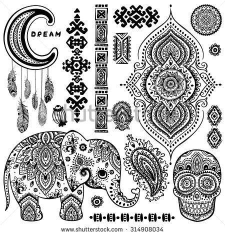 Set Of Ornamental Indian Elements And Symbols Simbolos Pinterest