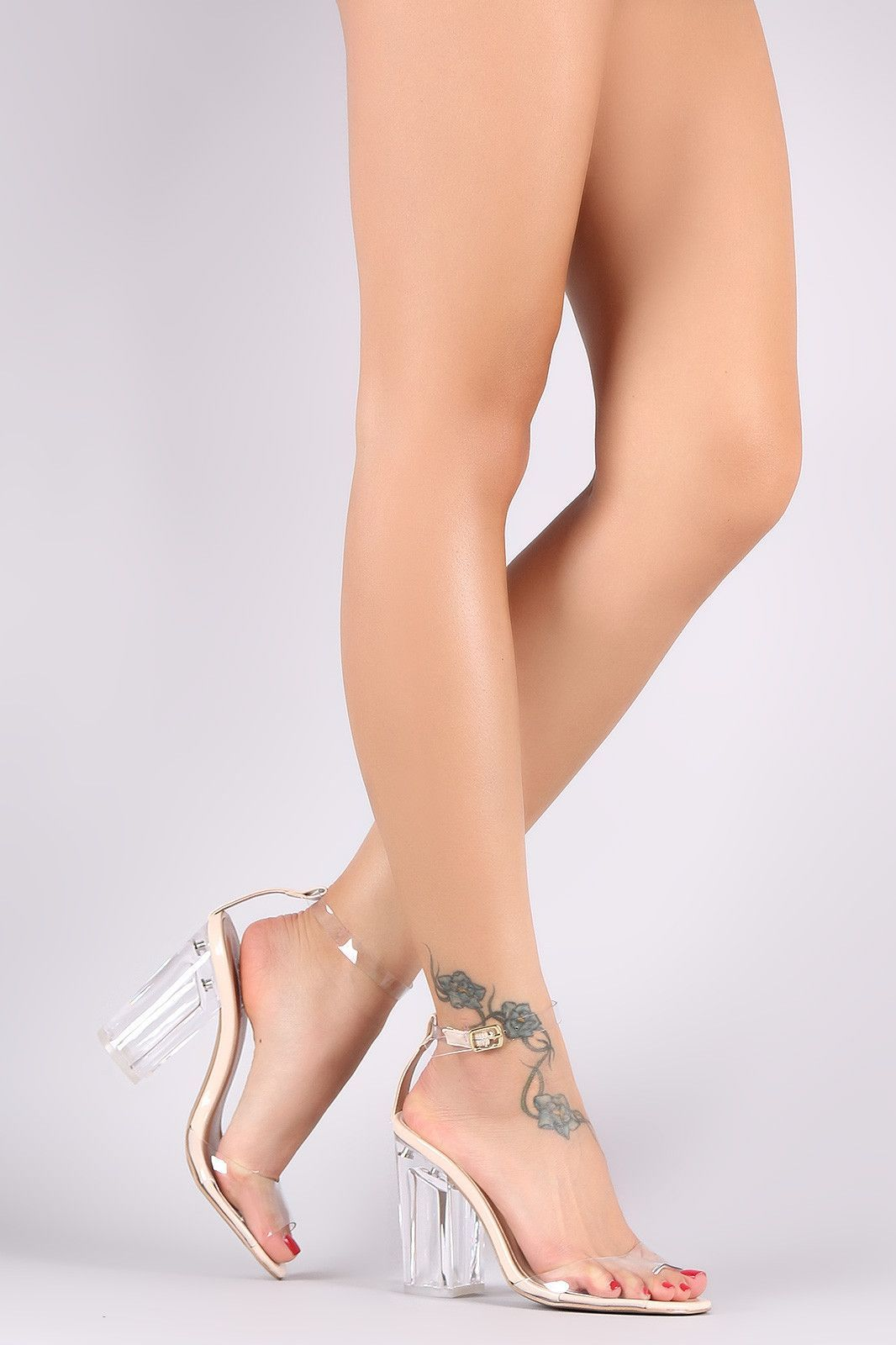 Qupid Transparent Ankle Strap Chunky Perspex Heel