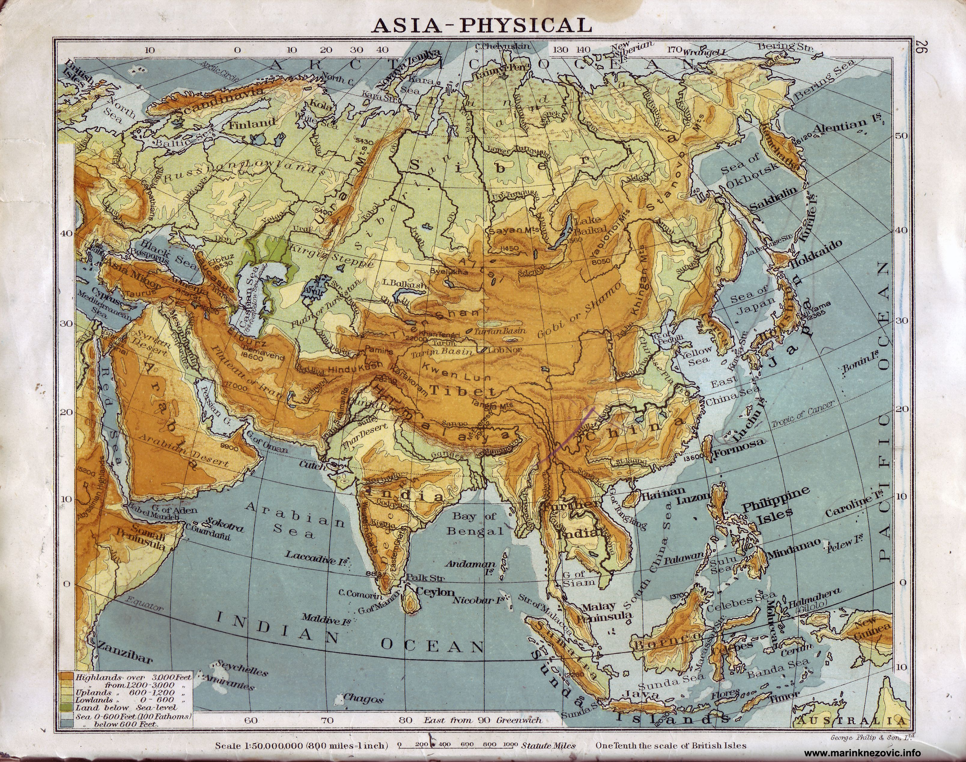 Fizicka Karta Azije Asia Physical Vintage World Maps Asia Map