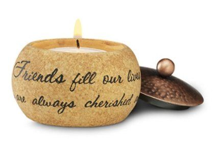 Comfort Candles Friend by Pavilion 3 by 1-1/2 by 3-Inch Candle Holder Includes Tea Light Candle