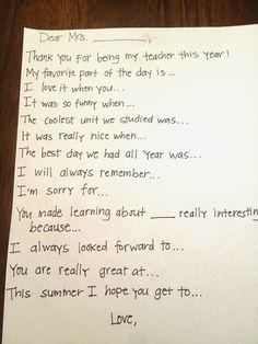 Teacher Thank You Note Prompt  Teacher Gifts