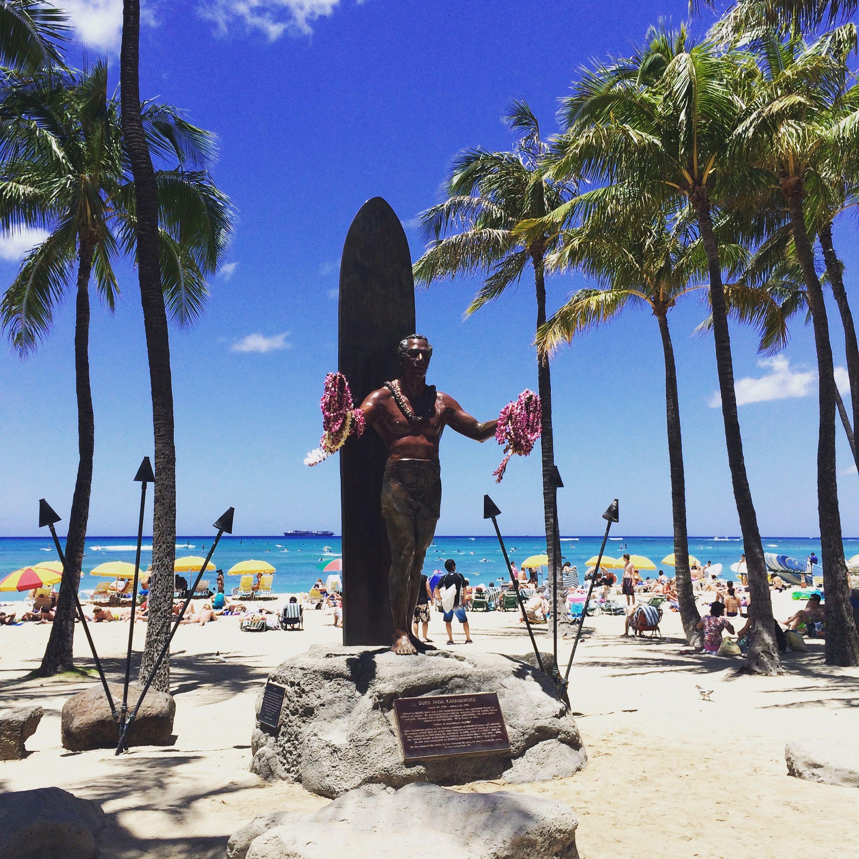 Waikiki Beach and Duke's statue