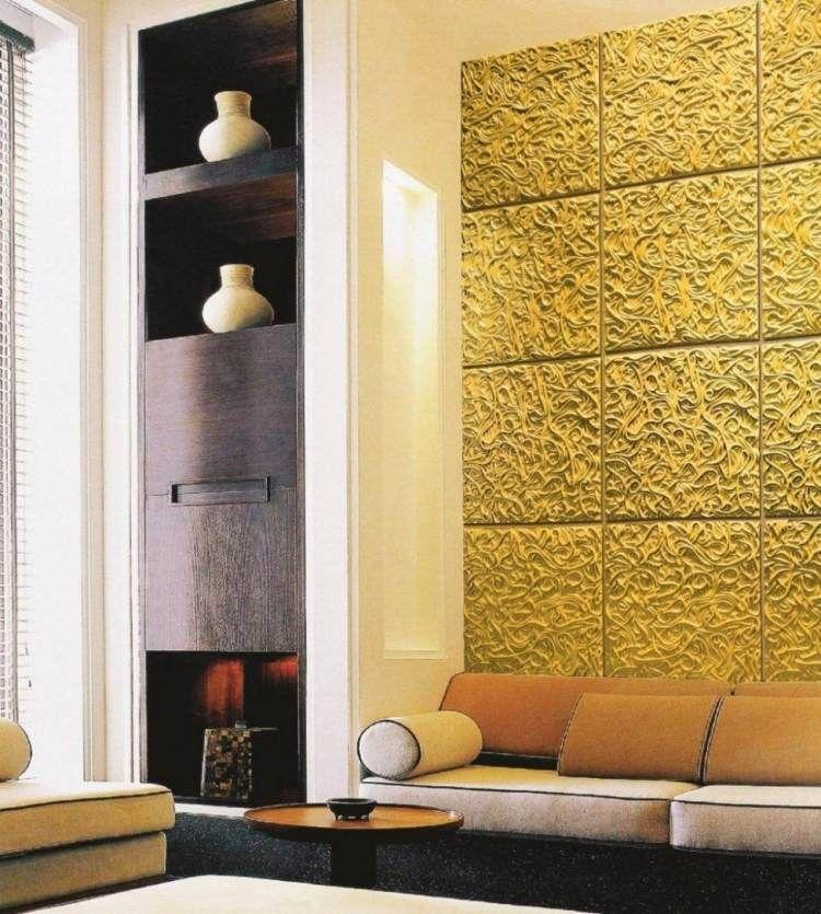 Wandgestaltung Mit Farben Ideen In Gold Und Goldnuancen Wandgestaltung Farbe Wandgestaltung 3d Wandplatten