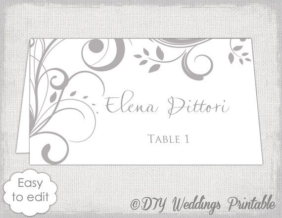 printable place card template gray scroll name cards diy wedding mercury gray place card templates you edit instant download avery 5302
