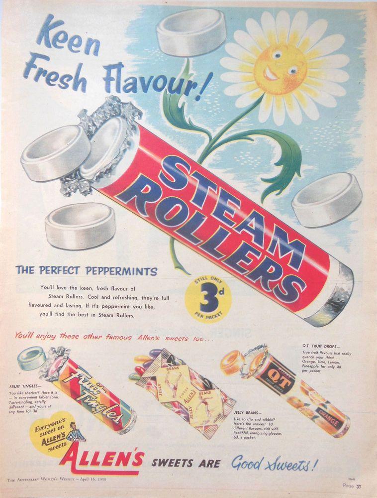 ALLEN S STEAM ROLLERS AD 1958 original vintage AUSTRALIAN