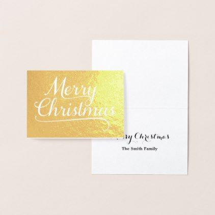 Merry Christmas Word Art Gold Foil Card - christmas card templates for word