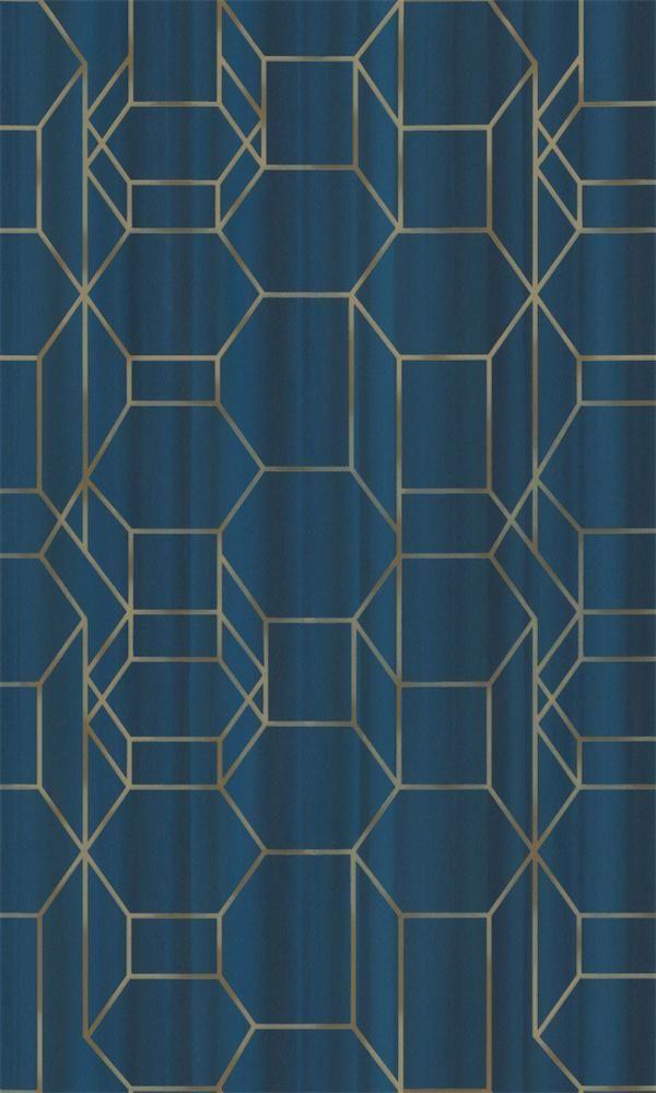 Blue & Gold Geometric Chain Wallpaper R5662