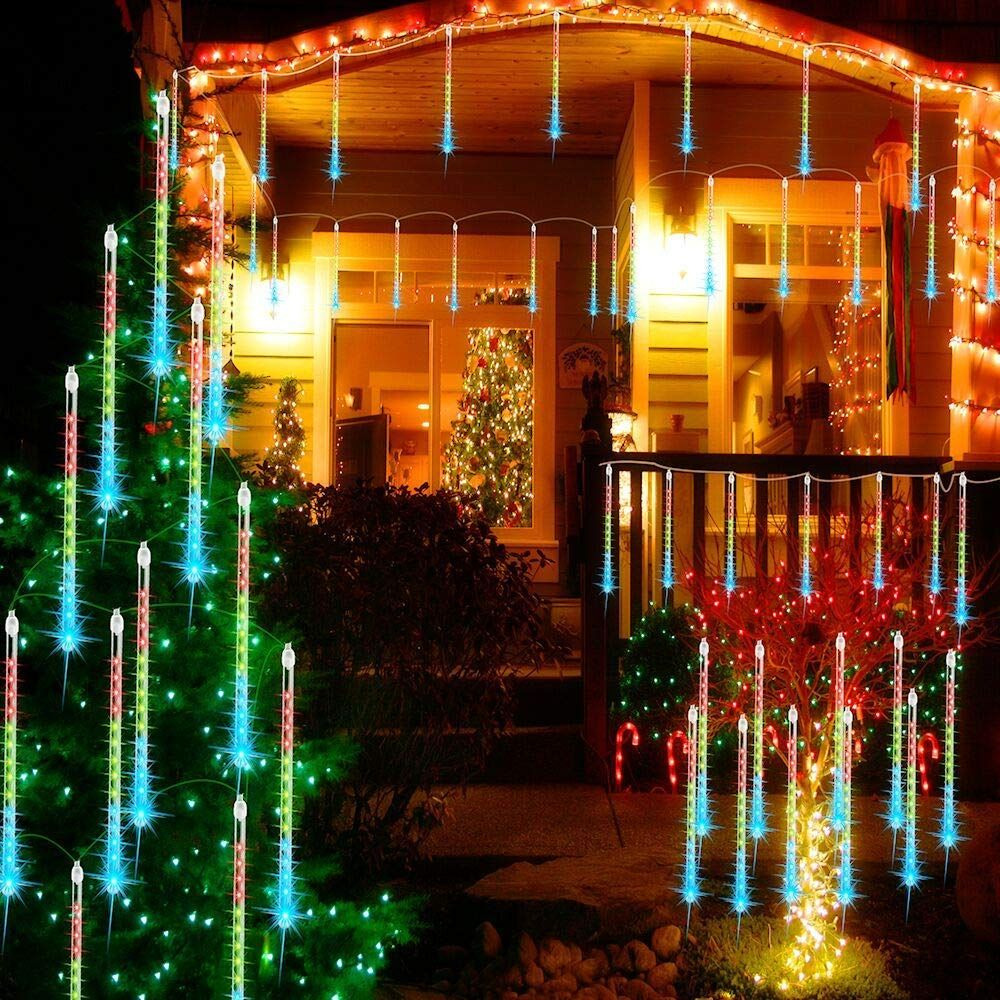 Solar//Battery LED Meteor Shower Falling Rain Drop Icicle Xmas Tree String Lights