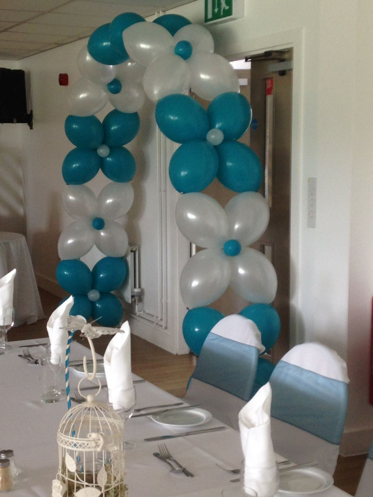 Teal and white balloon flower arch balloons pinterest for Arch balloon decoration