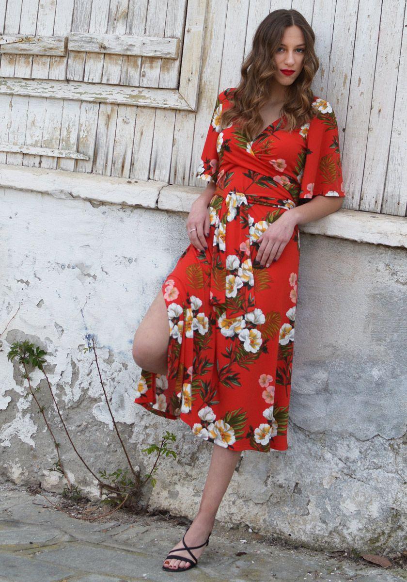 2dd3ce78cdc9 ΦΟΡΕΜΑΤΑ   Κόκκινο Φλοράλ Κιμονό Φόρεμα
