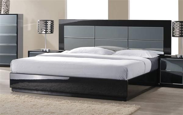 Venice Modern High Gloss Black Wood Queen Bed Bed Furniture