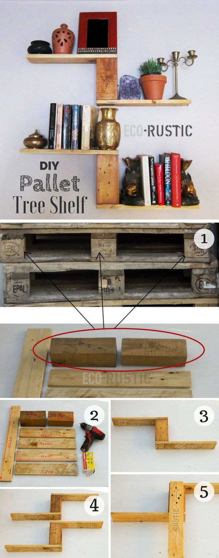 Construir uma prateleira árvore DIY fácil a partir @istandarddesign madeira pallet