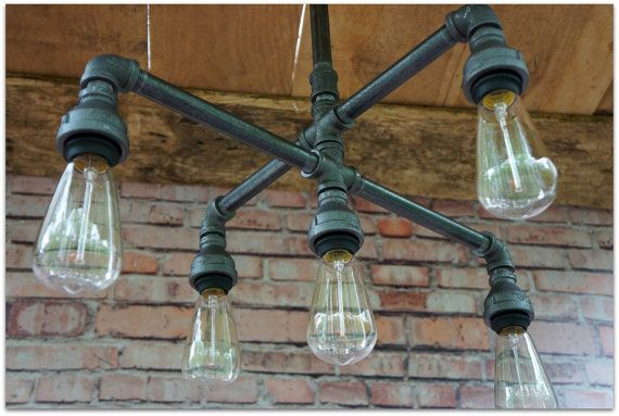 Vintage Style Five Light Iron Chandelier by 9thAveIronWorks