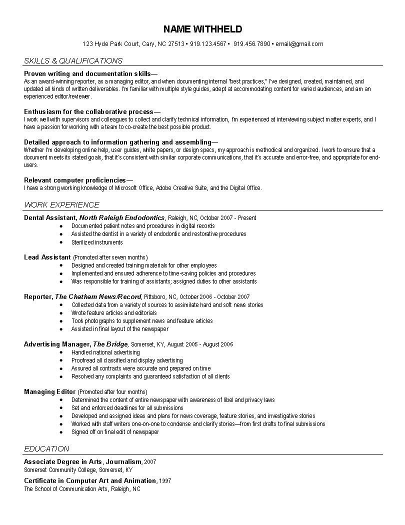 Example Of A Job Resume News Reporter Resume Example  Httpwwwresumecareernews
