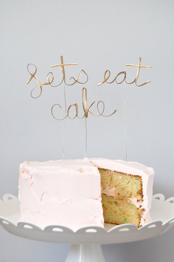 20 Simple Chic DIY Wedding and Party Cake Toppers Calligraphy
