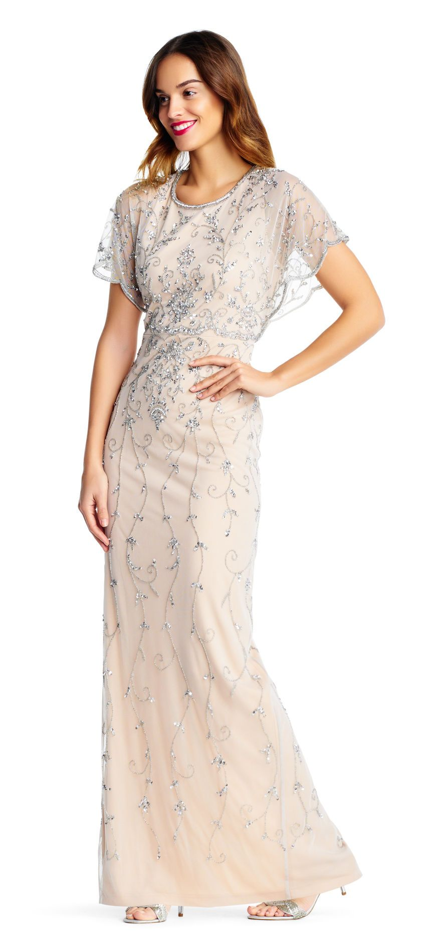 Vine beaded column gown with scalloped flutter sleeves in