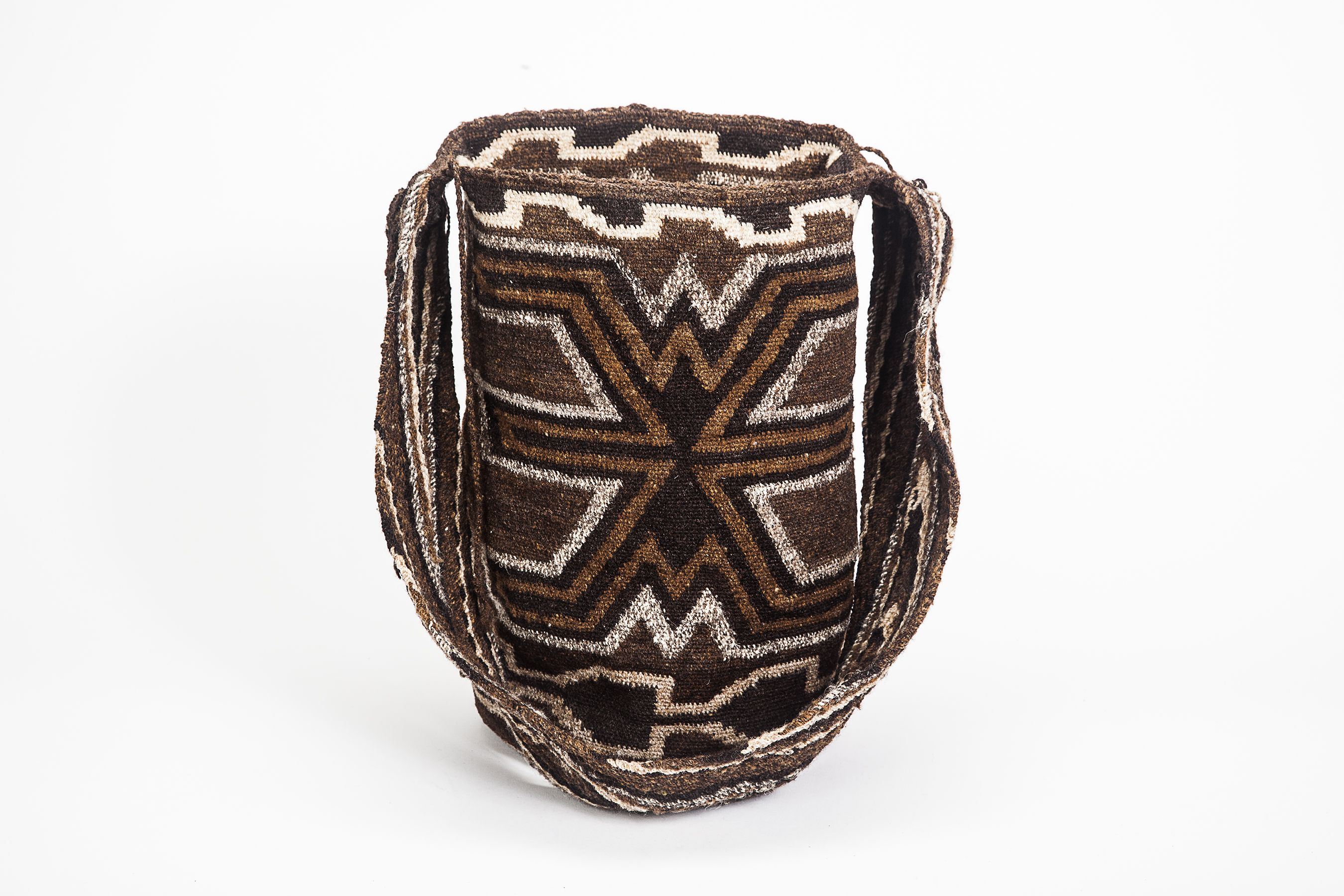 Exchanged in pairs as a wedding gift within the Arhuaco culture these hand woven mochilas are