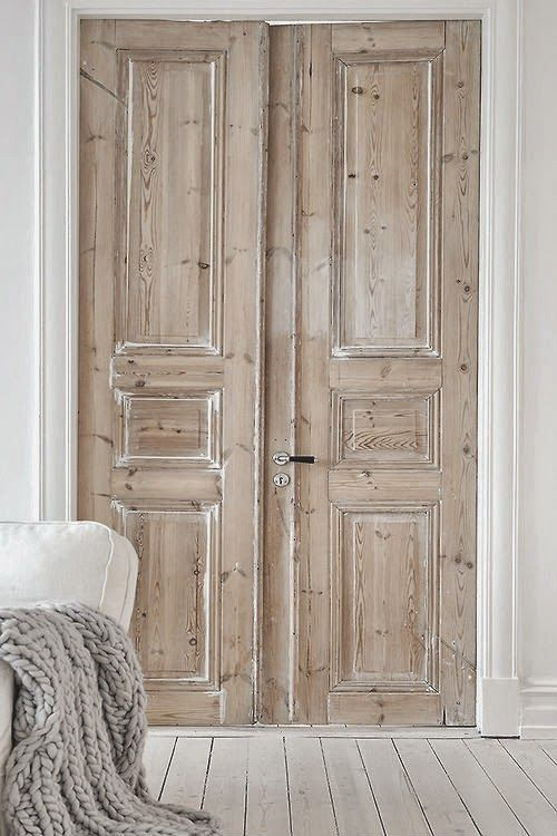 French white washed pale wood doors our home pinterest for Wooden french doors
