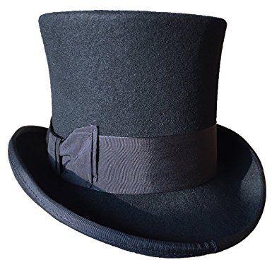 a1add932dd7ea9 Black Wool Felt Top Hat Victorian Mad Hatter 7″ Tall Gentlemen Magic Topper  Hats Review