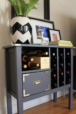 "Campaign Style Wine Rack - DIY - this color is perfect -- she mixed grey paint with chalkboard paint for a matte finish and hot-glued the brackets on for the ""campaign"" look. love."