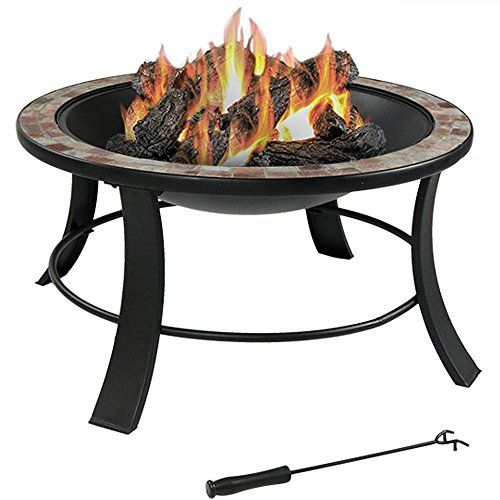 Sunnydaze 30 Inch Natural Slate Fire Pit Table With Spark Screen You Can Get Additional Details At The Image Fire Pit Table Wood Burning Fire Pit Fire Pit