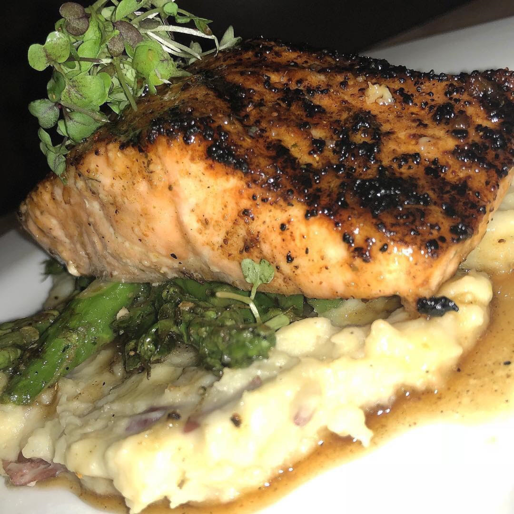Honey Bourbon Salmon, Mashed Potatoes, And Asparagus Tips