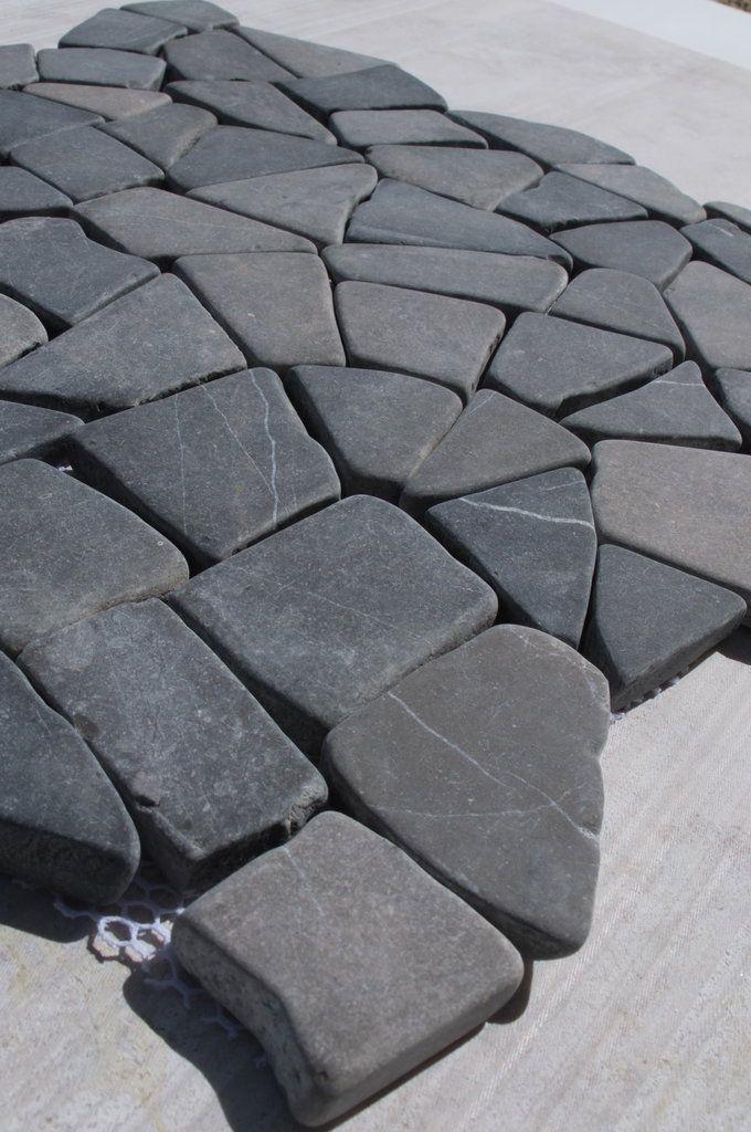 Genoa Grey Tumbled Interlocking Marble Mosaic Wall Floor Tiles