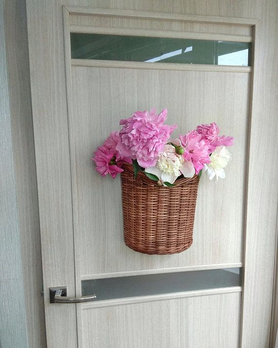 Front Hanging door basket Wicker Wall hanging baskets for ... on Decorative Wall Sconces For Flowers Hanging Baskets Delivery id=53778