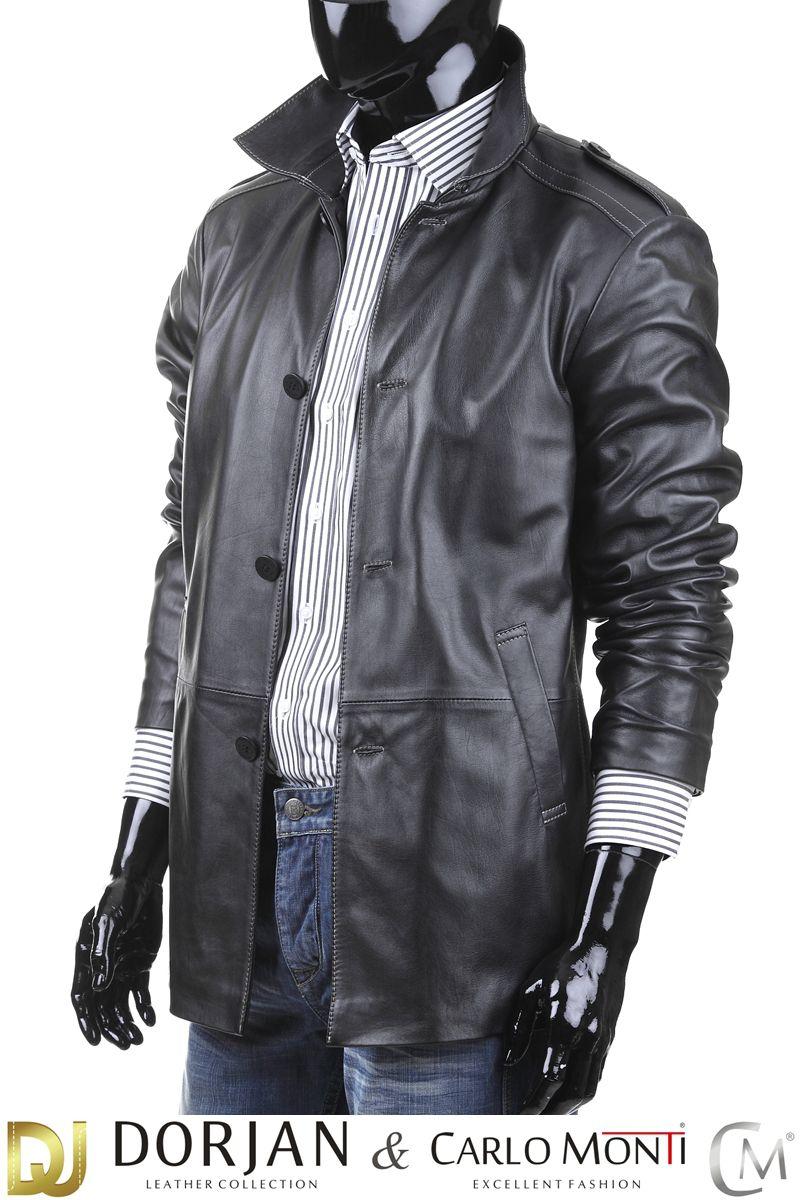 Płaszcz skórzany męski DORJAN BIL950 | Płaszcze, Męskie