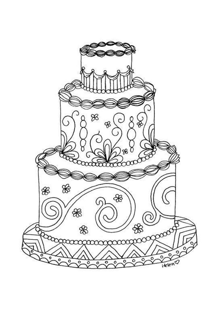 Wedding cake adult coloring page | Craftsy | Wedding ...
